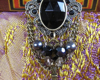 Black Velvet with Brushed Gold Chain necklace and earring set