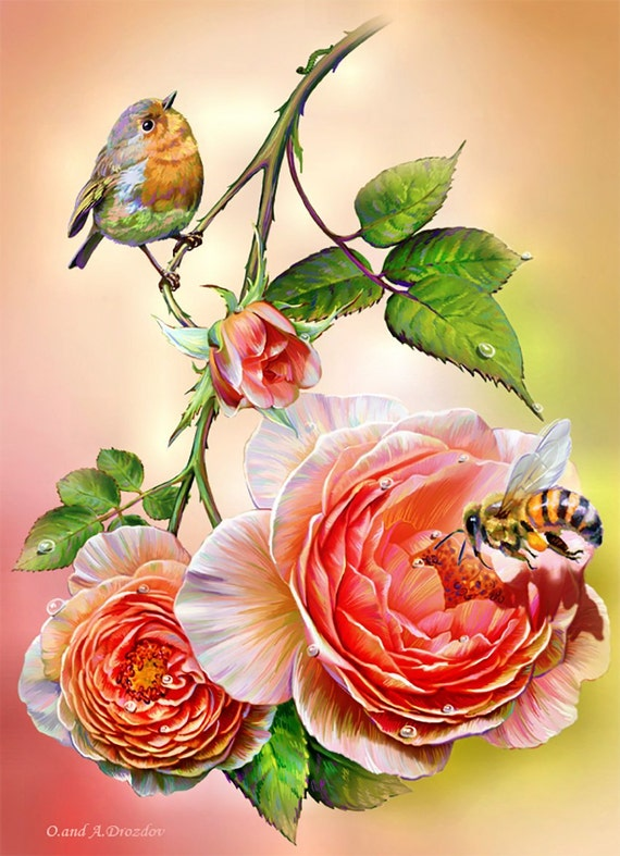Counted Cross Stitch Pattern Embroidery Picture Floral Cross Stitch Flower Cross Stitch Bird Cross Stitch Bee Large Cross Stitch Design