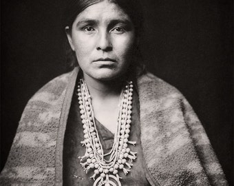 Native American Navaho Woman Portrait, American Indian Photograph of Indigenous American Indian, Sepia Photo