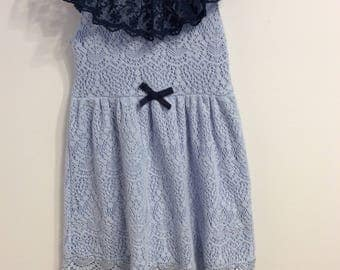 Toddler girl dress, 4T, blue and navy lace, ruffled neck, upcycled clothing, OOAK, sustainable clothing