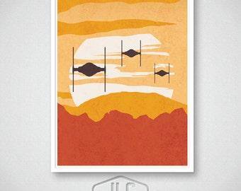 Star Wars Art Print, The Force Awakens, TIE Fighter Sunset, Movie Poster,