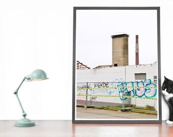 Industrial Splendor Photography, Street Art Print, Graffiti, Fireplace, Wall and bricks, contemporary art, industrial design, urban life