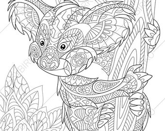 Adult Coloring Pages Koala Bear Zentangle Doodle Book Page For Adults Digital