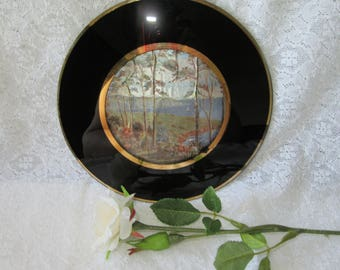 The Art of Chokin Plate vintage gold gilt 22ct silk paper insert picture scene coastal oriental Japan boat landscape chinese collectible