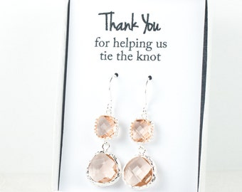Long Peach Silver Earrings, Blush Wedding Jewelry, Peach Silver Earrings, Champagne Earrings, Bridesmaid Earrings, Blush Bridal Accessories