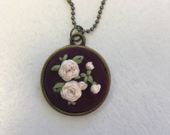 Wine Rose Necklace
