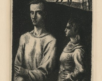 "FEDERICO CASTELLON (Spanish/American, 19141-1971), ""The Misunderstanding"", 1948, original etching, pencil signed"
