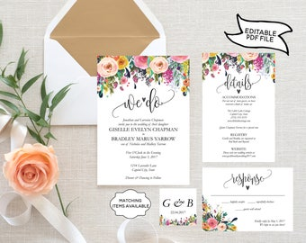 We Do Floral Wedding Invitation Template Set EDITABLE Rustic RSVP Detail Card Printable Garden Wildflower Peony Flowers PCFDWS