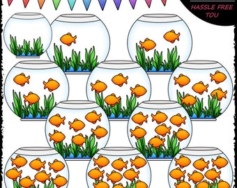 Counting Goldfish (0-10) Clip Art and B&W Set