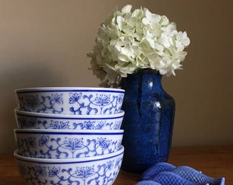 Vintage Blue & White Rice Bowl Collection
