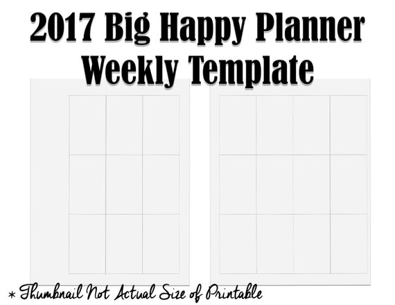 New 2017 Big Happy Planner Weekly Layout Template - Printable to ...