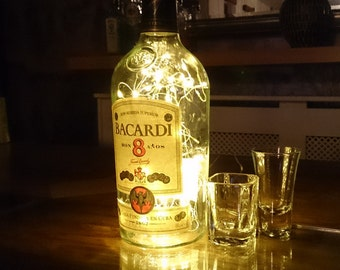 Upcycled Bacardi 8 Anos Bottle Lamp. Perfect Mood Lighting Gift For Women. Ideal Boyfriend Gift For Men & Man Caves. Cool Upcycled Lighting