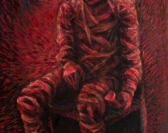 Original oil painting Horror Dark Art Surrealism Visionary Beksinski Ready to hang