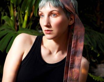Fabric headband – Organic cotton headband – Naturally dyed headband – Zero waste headband – Hand embroidered headband – Vegan headband