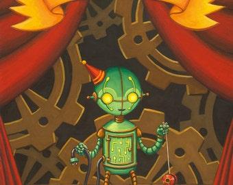 "Sideshow circus art print, ""Mechanical Boy"" robot 8x10"""