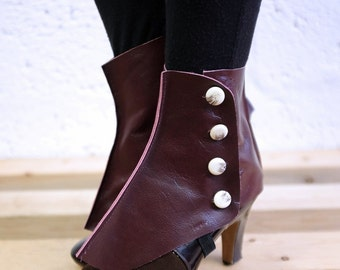 Real Leather Spats - Ox Blood - Steampunk, victorian, cosplay, costume, please read description for more information