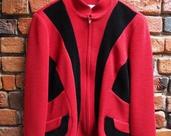 Women's 90s Joseph Ribkoff Red And Black Velvet Ribbed Fitted Jacket Blazer Size Small Medium