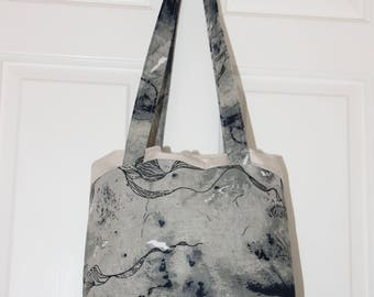 Tote Bag -Tye Dyed - Magnetic Poppered - Two Large Internal Pockets