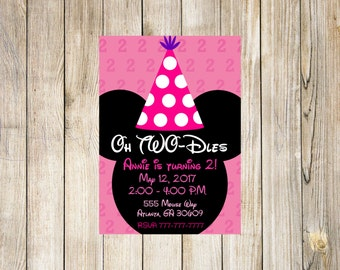 Oh Two-dles Minnie Mouse Invitation