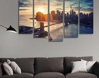 LARGE XL Manhattan New York City Canvas Print City Skyline at Sunset Manhattan Bridge Canvas Wall Art Print Home Decoration - Stretched