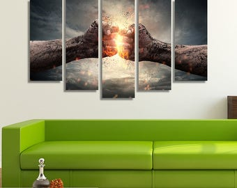 LARGE XL Two Fists Hitting Each Other Canvas Print Dramatic Anger Boxing Canvas Fire Wall Art Print Home Decoration - Framed and Stretched