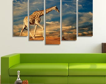LARGE XL Giraffe on a Sand Dune Canvas Print South Africa at Sunset Canvas Nature Desert Canvas Wall Art Print Home Decoration - Stretched