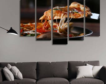 LARGE XL Pizza Canvas, Tasty Pizza Wall Art Print Home Decoration - Framed and Stretched - 3003