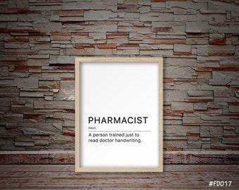 Pharmacist gift, Pharmacist print, Pharmacist minimalist print, Pharmacist quote print   #FD017