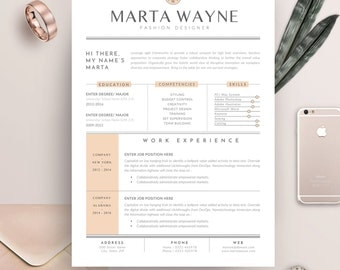 resume template 3 pages for fashion designer cv template cover letter for ms word - Fashion Design Resume Template