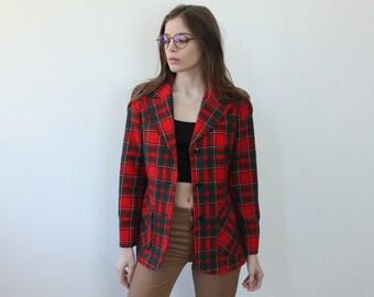 Pendleton Plaid Blazer // Vintage Wool Jacket 70s Womens Red Pocket - Medium