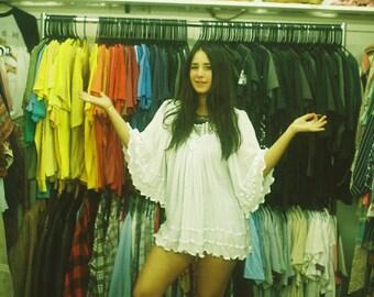 1970s White Bell Sleeve Hippie Shirt,Vintage Butterfly Sleeve Boho Shirt