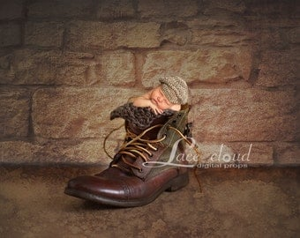 Digital Backdrop Newborn background vintage mens boot  retro Digital Photography prop / pic #22