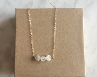 Moonstone Necklace - Natural Rainbow Moonstone - 14k gold filled jewelry - Sterling Silver - Birthday - Bridesmaids - Bridal - Gift for her