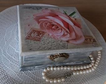 Wooden Jewelry Box, Decoupage, Shabby Chic Box, Gift Box
