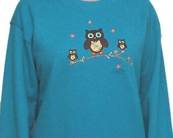 Owl Unique Custom Women's Cute Fun Glitter Cool Embroidery  Bling Sweatshirt Fleece T shirt Cindy's Handmade Shirts Boutique