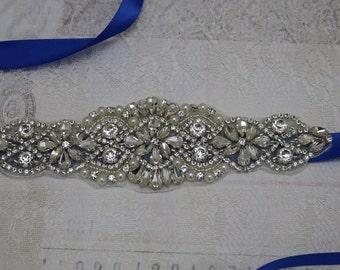 royal blue sash, crystal bridal sash, rhinestone bridal sash, bridal belt, beaded bridal belt, wedding sashes, royal blue bridesmaid sash