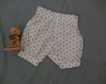 baby bloomers, two only made, metallic gold polkadot on cotton