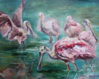 "SALE Roseate Spoonbill Painting // 9""x12"" Oil Painting  // Original Bird Art by MaryJane Jones // Spoonbill // Colorful Pink Birds"