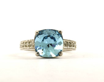 Vintage Women's Cushion Cut Blue Color Crystal Ring 925 Sterling Silver RG 2403-E