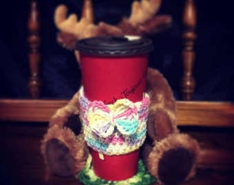 FREE local pickup or delivery Waterloo/Kitchener! ** Crocheted Coffee Travel Cup Cozy! Warm, Cute! Custom!