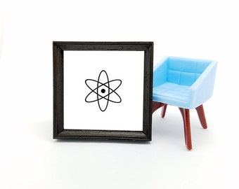 Dollhouse picture, miniature contemporary art, simple black white graphic print, square plastic frame, atomic ranch style decor accessory