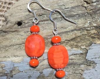 Fire Orange Czech Beaded Earrings