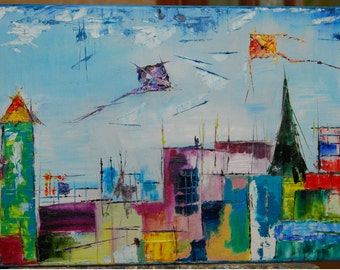 City scape original oil painting on canvas ready to hang