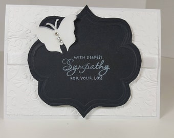 Sympathy Card - With Deepest Sympathy - Black and White Sympathy Card