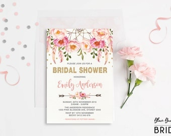 Pink and Gold Floral Bridal Shower Invitation. Bohemian Pink Watercolor Flowers. Boho Engagement Invite. Feathers. Dream Catcher. FLO12A
