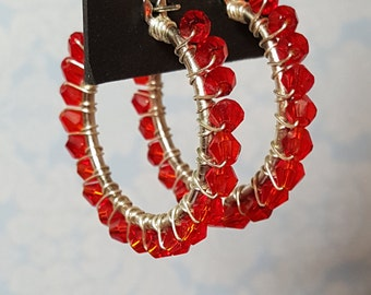 Silver Hoop Earrings With Red Beads  Bicone Crystal Beaded Earrings   Gift For Her Jewelry