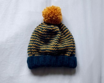 Knit Beanie Hat in Navy Blue and Mustard // Slouchy Knit Winter Hat with Pom Pom