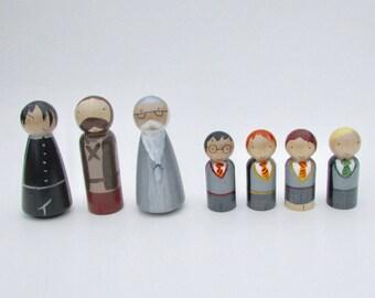 Harry Potter inspired peg dolls, wooden peg dolls, Hermione peg doll, Ron peg doll, Harry Potter play set, cake topper, nursery decor
