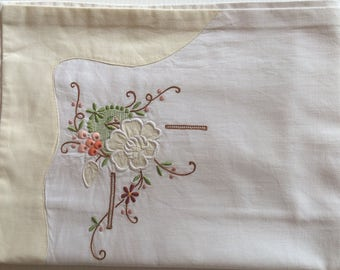 Single vintage pillowcase with applique and embroidery