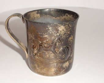 Tiffany & Co. Sterling Rocking Horse Pattern Baby Cup Hand Chased 25914
